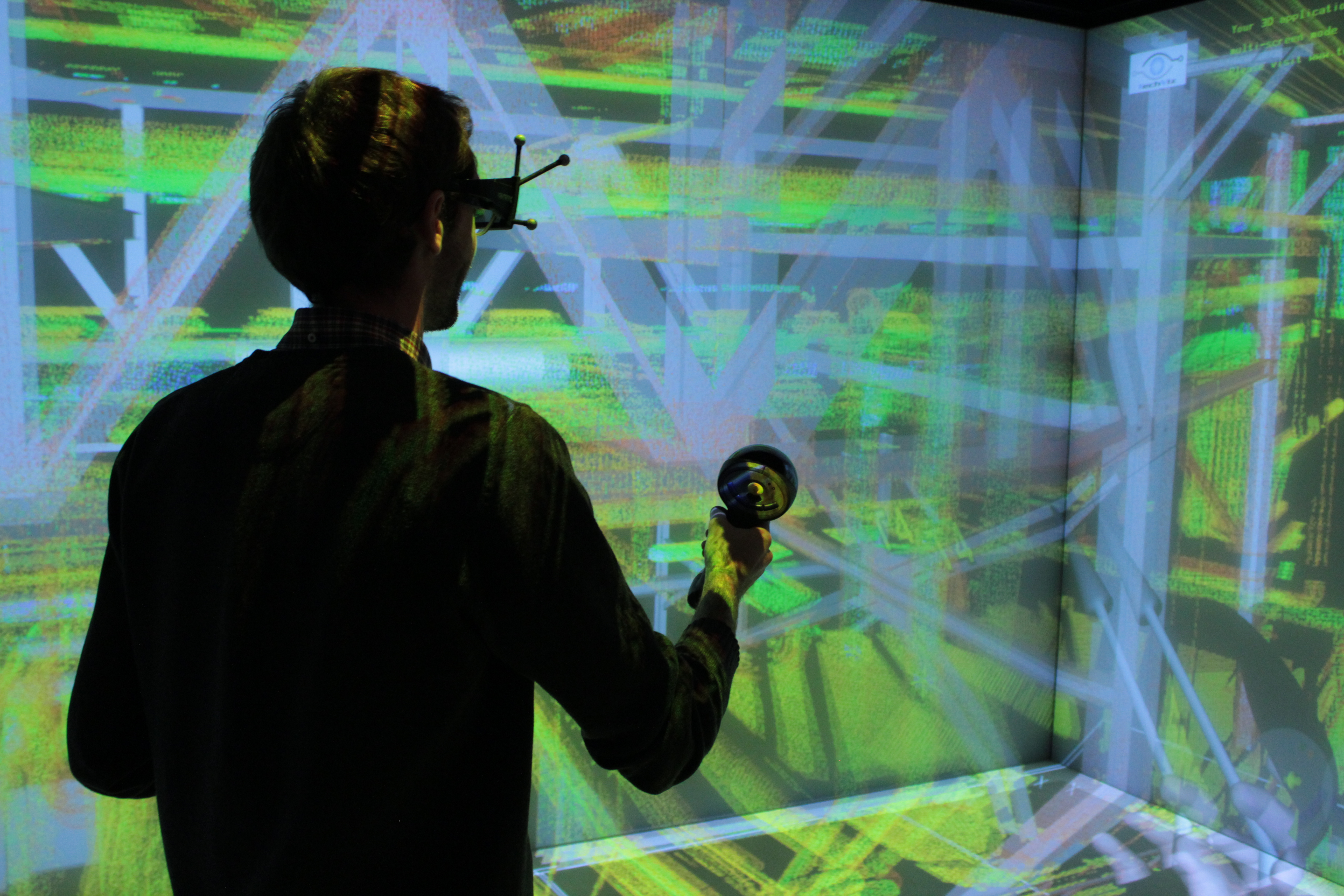 man navigating a point cloud in virtual reality